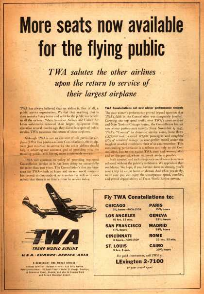 Trans World Airline's Constellations – More seats now available for the flying public: TWA salutes the other airlines... (1948)