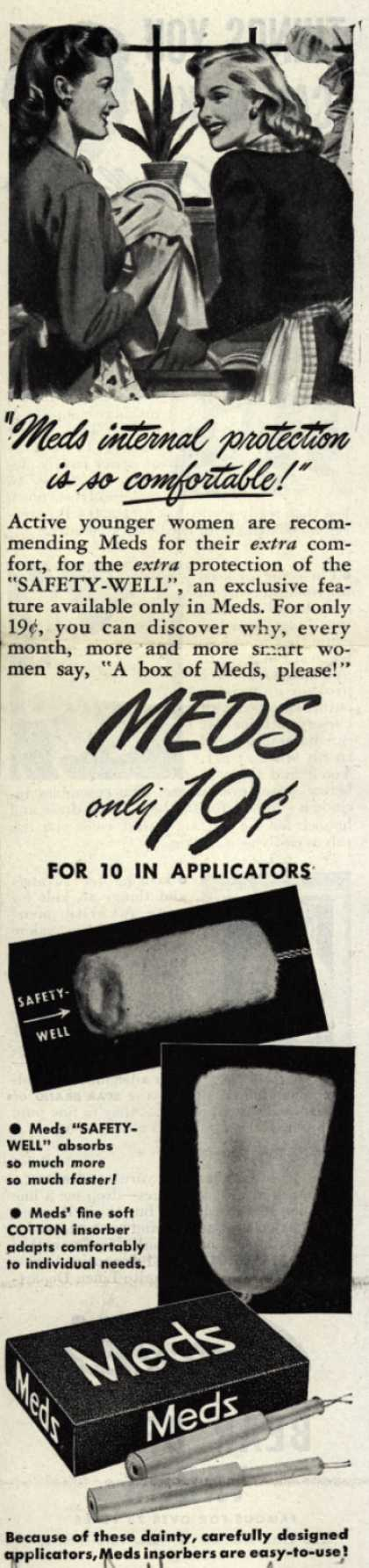 "Personal Products Corporation's Meds Tampons – ""Meds internal protection is so comfortable!"" (1945)"