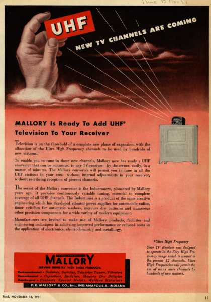 P.R. Mallory & Co.'s Mallory Inductuner – UHF New TV Channels are Coming (1951)
