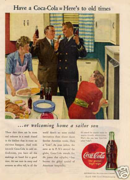 "Coca-cola Ad ""Welcoming Home a Sailor Son... (1944)"