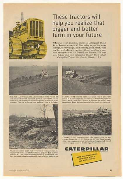Caterpillar D4 D6 D7 D8 Farm Tractors (1959)