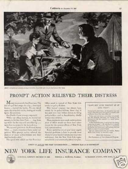 "New York Life Insurance Ad ""Prompt Action... (1934)"