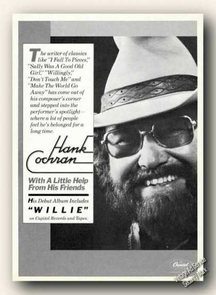 Hank Cochran Photo Ad Album Promo Music (1978)
