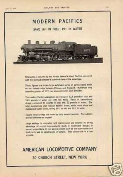 Alco Locomotive Ad Illinois Central 4-6-2 #1071 (1912)