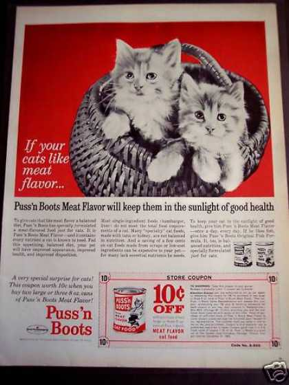 Puss 'n Boots Cat Food Kitty In a Basket (1963)