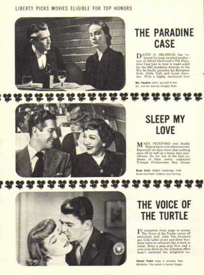 Movie Pictures from Magazine Article – Reagan, Peck, Eleanor Parker (1948)