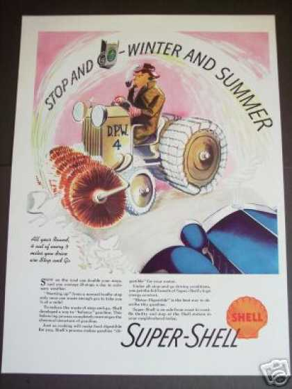 Super Shell Gasoline Gas D. P. W. Winter Art (1937)