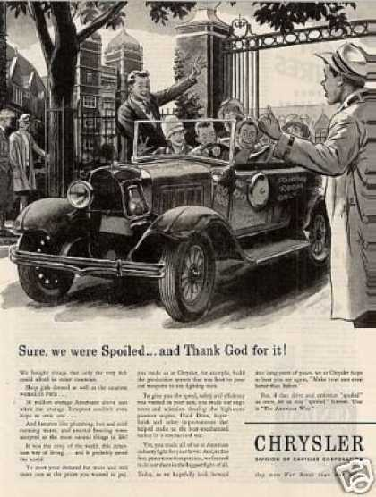 "Chrysler Ad ""Sure, We Were Spoiled... (1944)"