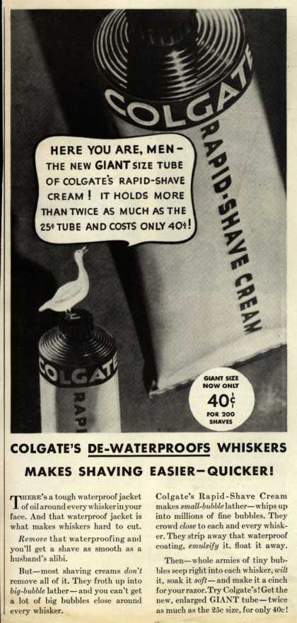 Colgate & Company's Colgate's Rapid-Shave Cream – Colgate's De-Waterproofs Whiskers, Makes Shaving Easier- Quicker (1934)
