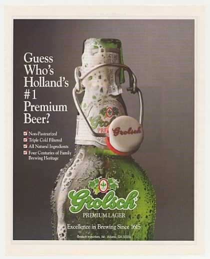 Grolsch Premium Lager Beer Bottle Photo (1992)