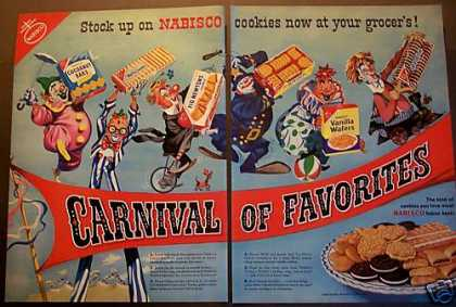Nabisco Cookies Fig Newtons Oreos Clowns (1953)