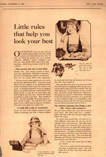 Pond's Extract Co.'s Pond's Cold Cream and Vanishing Cream – Little rules that help you look your best (1920)