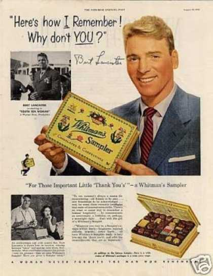 Whitman&#8217;s Chocolate Candy Ad Burt Lancaster (1953)