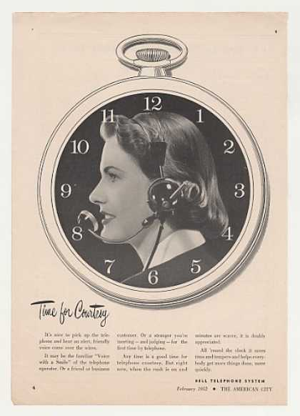 Bell Telephone Operator Time for Courtesy Photo (1952)