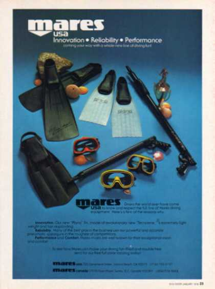 Mares Scuba Diver Diving Mask Spear Gun (1979)