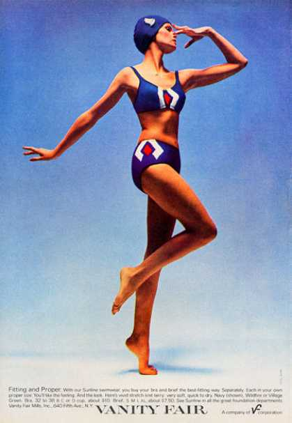 Vanity Fair Sunline 2 Piece Swimsuit Fashion (1972)