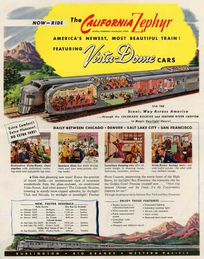 Burlington, Rio Grande, Western Pacific's Passenger Rail Service – Now-Ride The California Zephyr America's Newest, Most Beautiful Train! Featuring Vista-Dome Cars (1949)