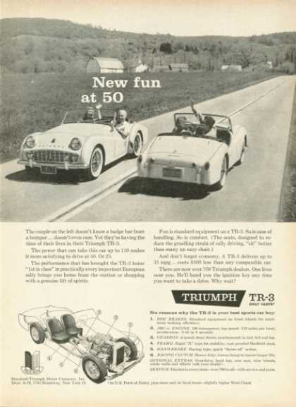 Triumph Tr-3 Sports Car Cutaway Ad Front Rear View (1959)