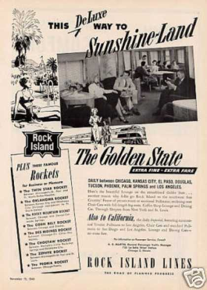 Rock Island Railroad Ad the Golden State (1949)