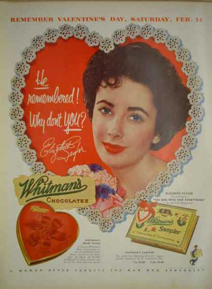 Whitman's Chocolate Sample Elizabeth Taylor Liz (1953)