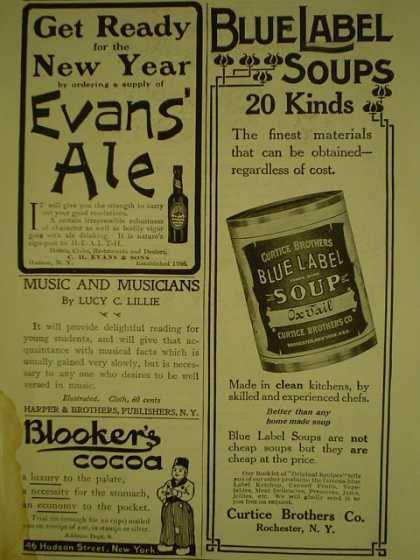 Evan's Ale AND Blue Label Soups Curtice Burns Rochester NY (1908)