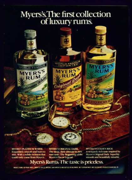 Meyers's Rum Platinum White Golden Rich Dark C (1982)
