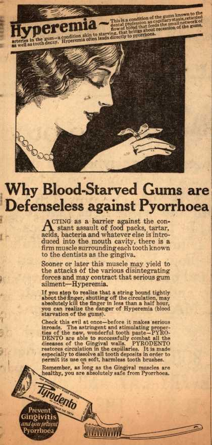 Pyrodento – Why Blood-Starved Gums are Defenseless against Pyorrhoea (1925)