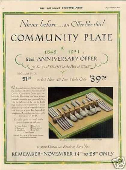 Community Silverplate Ad 83rd Anniversary Set (1931)