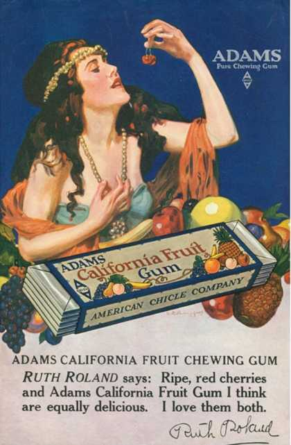 Adams California Fruit Gum, Chewing Gum Sweets, USA (1910)