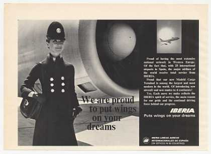 Iberia Airlines Proud Wings Stewardess Photo (1974)