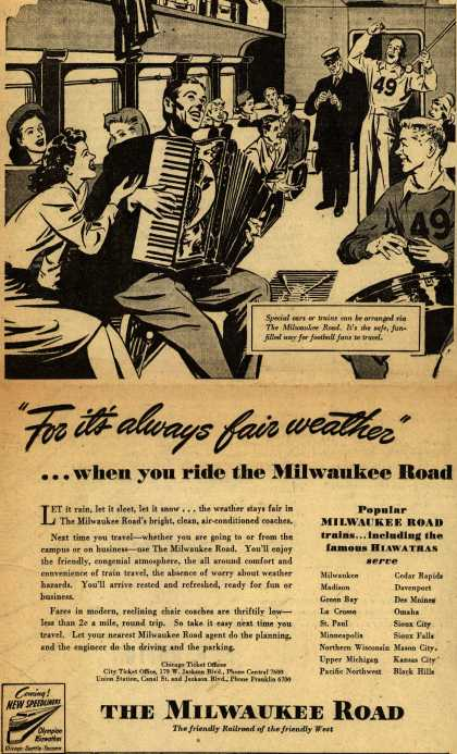 "Milwaukee Road – ""For it's always fair weather"" ...when you ride the Milwaukee Road (1946)"