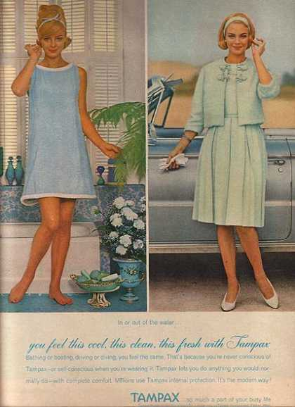 "Tampax's ""In or out of the water you feel this cool, this clean, this fresh with (1962)"