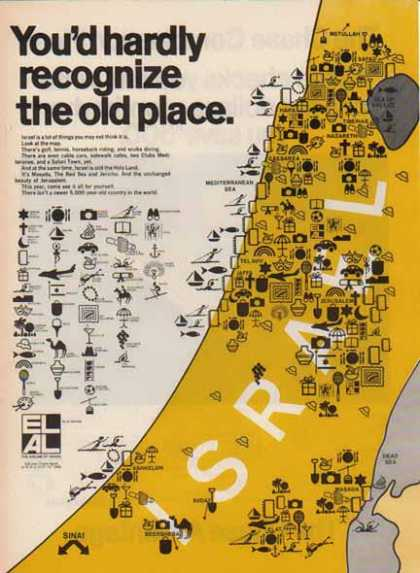 El Al Israel Airlines – Map of Israel (1976)