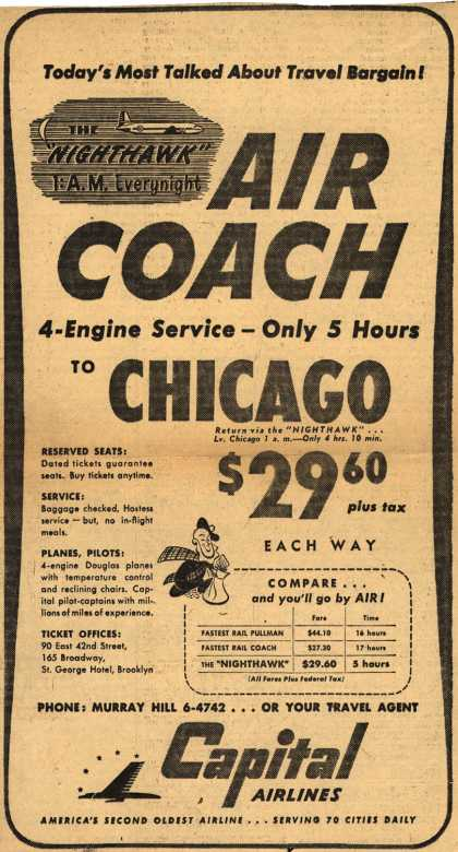 Capital Airline's Air Coach to Chicago – Today's Most Talked About Travel Bargain! Air Coach (1948)