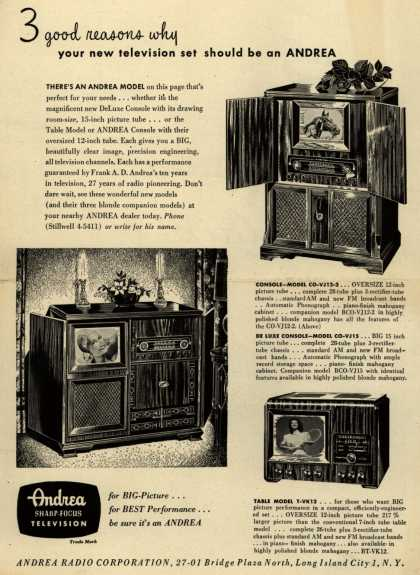 Andrea Radio Corporation's Television Consoles – 3 Good Reasons Why Your New Television Set Should Be An Andrea (1948)