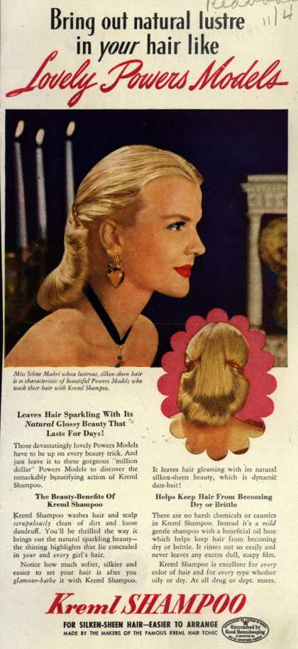 Kreml's shampoo – Bring out natural lustre in your hair like Lovely Powers Models (1944)