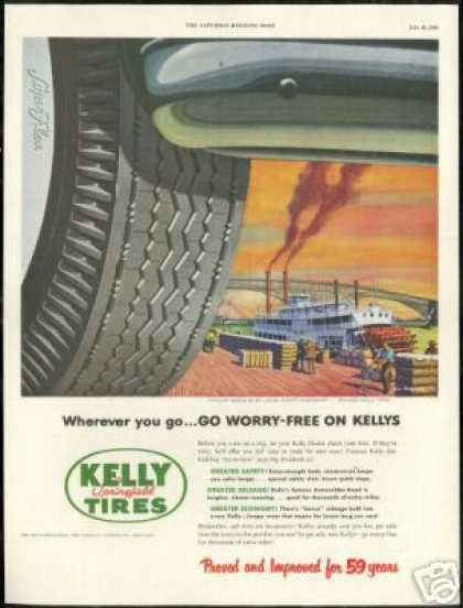 St Louis Mississippi Paddle Boat Kelly Tire (1953)