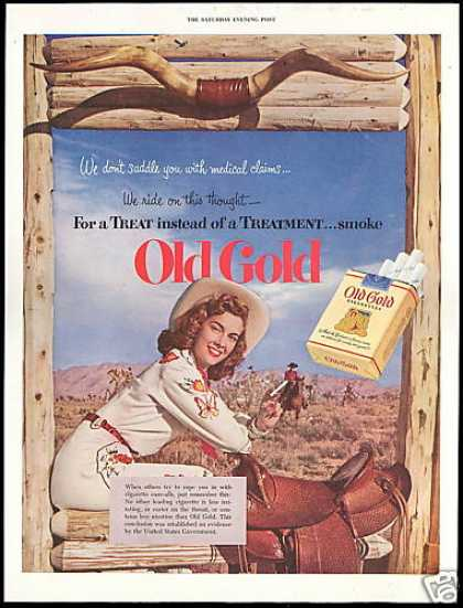 Pretty Cowgirl Horse Saddle Old Gold Cigarettes (1952)