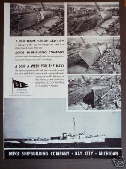 Defoe Shipbuilding Navy Boat Photo (1942)