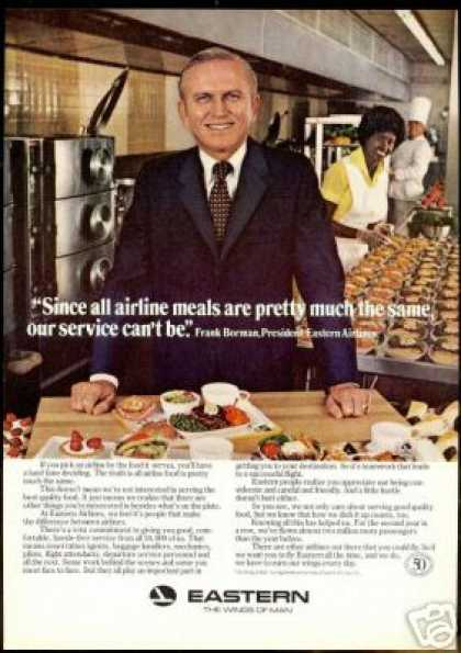 Eastern Airlines Meals Frank Borman President (1978)