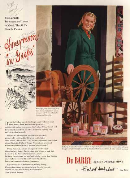 Richard Hudnut's DuBarry Success-O-Plan – With a Pretty Trousseau and Looks to Match, This G.I.'s Fiancee Plans a Honeymoon in Gaspe (1945)