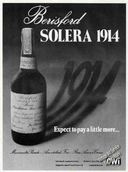 "Berisford Solera 1914 ""Expect To Pay More"" Wine (1978)"