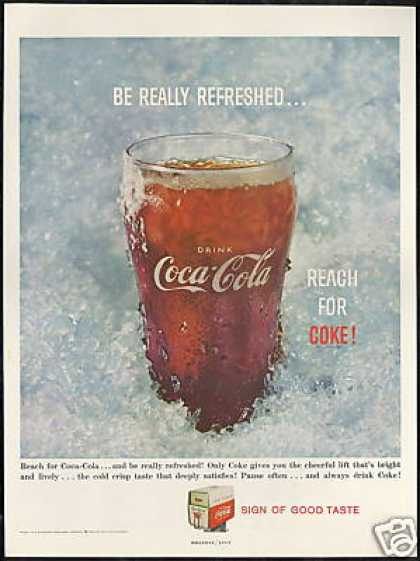 Coke Coca Cola Glass On the Ice Photo (1959)