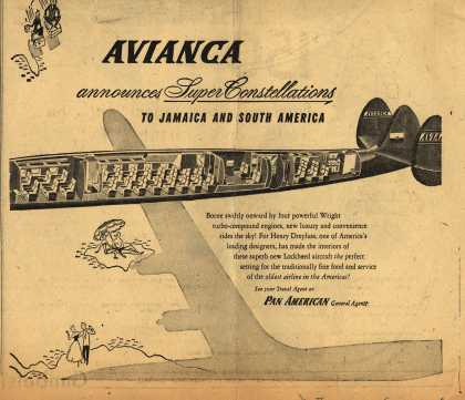 Avianca Colombian National Airway's Super Constellation Air Service – Avianca Announces Super Constellations to Jamaica and South America (1954)