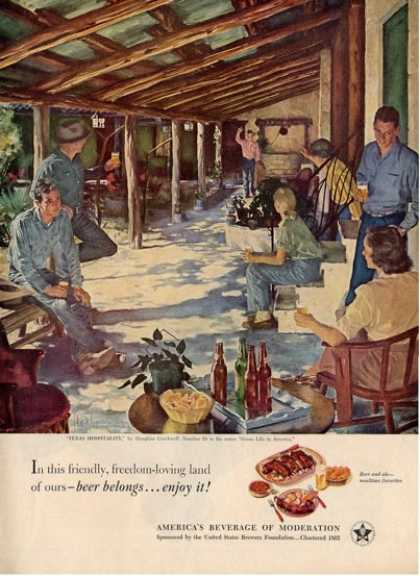 Beer Belongs Texas Hospitality Crockwell Art Ad T (1951)