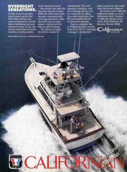 Californian Yachts By Wellcraft Nice Boat Photo (1985)