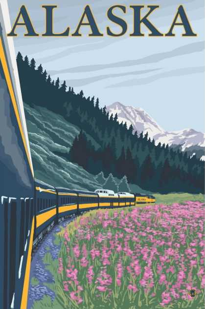 Alaska Railroad and Fireweed, Alaska
