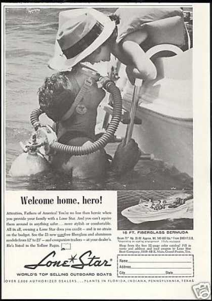 Lone Star Boat Photo Scuba Diver Vintage (1960)