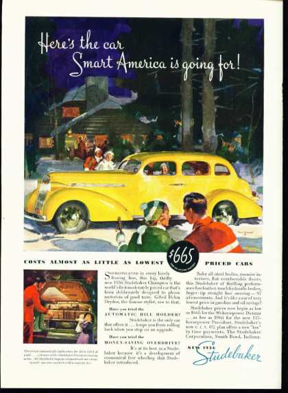 Studebaker Champion Ad In Full Color – Yellow Car (1936)