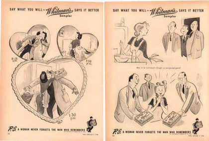 Whitman's Samplers Candy – Set of 2 Comic Ads (1948)